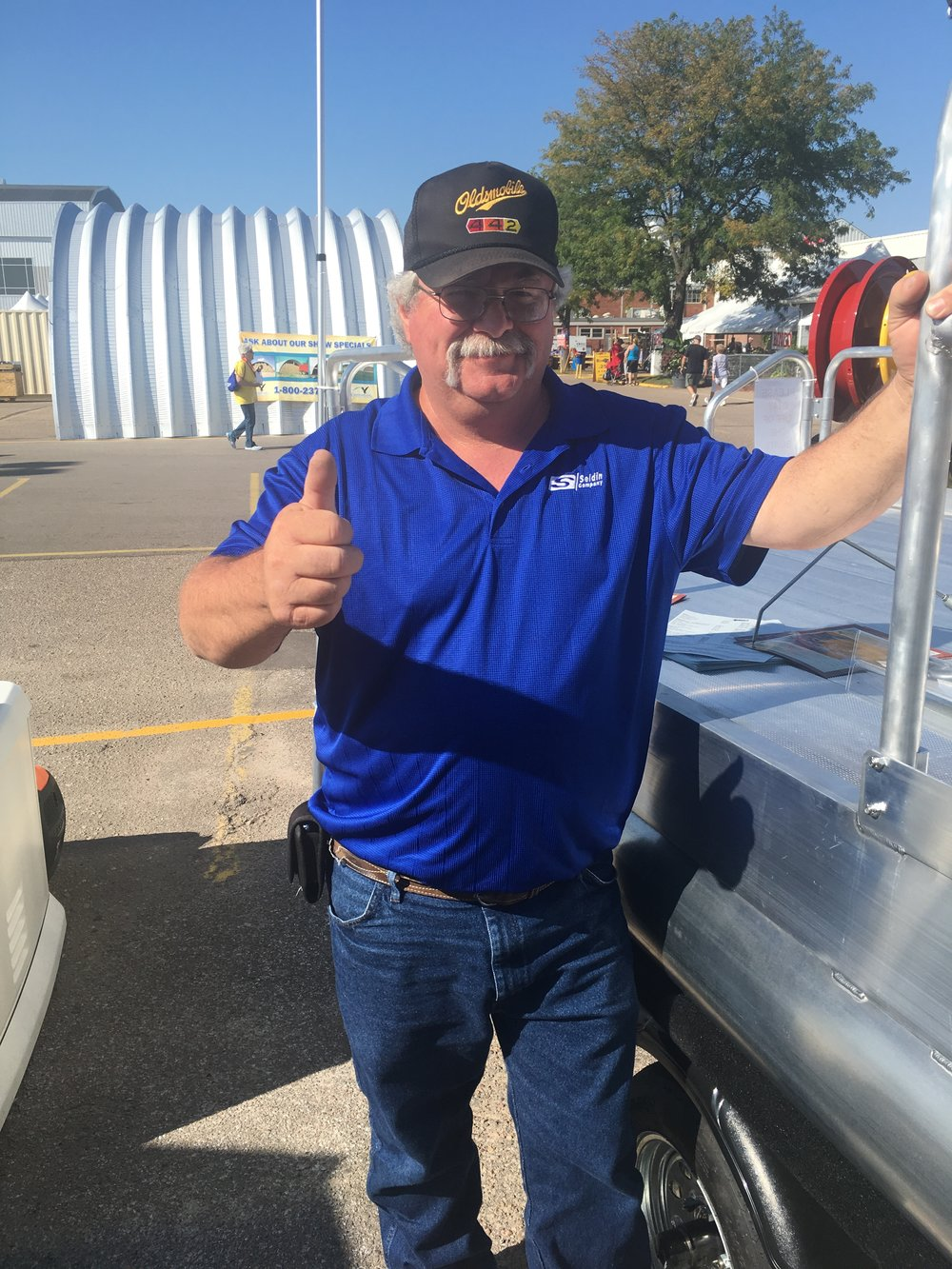 This is Randy Boltz from right here in Grand Island Nebraska. Randy purchased the very 1st model of the first production boat we manufactured back in 1987. We just caught up with Randy this year at the Nebraska State Fair and he still gives us the thumbs up and big smile when we ask, do you still like that boat? That is what makes this business fun.
