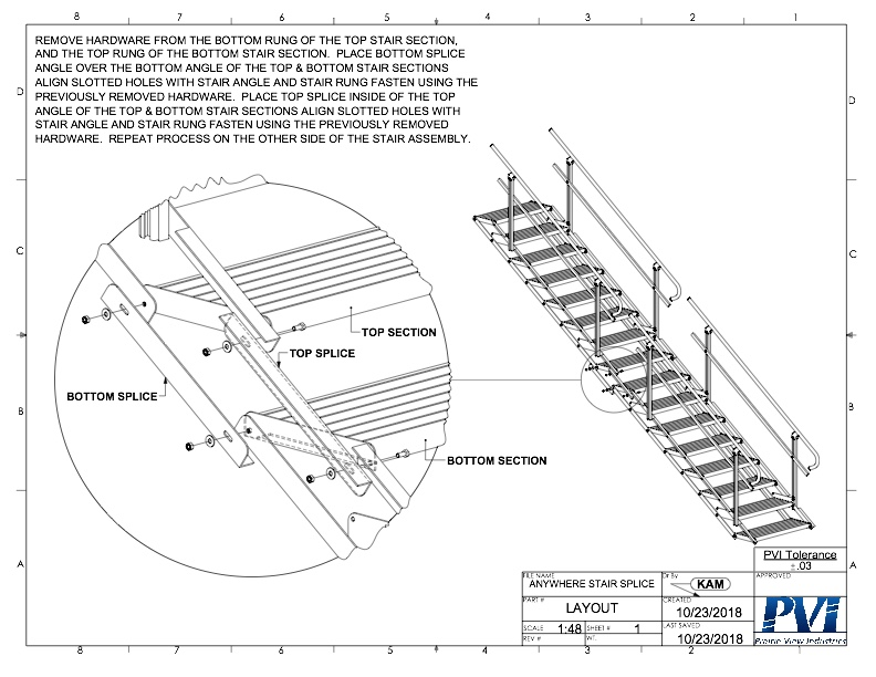 This diagram shows how you will connect ( 2 ) 8' sections together to have a single 16' stairway and how to adjust the steps angles with your slope after you have placed it in the location it will be used in. You can add as many sections together as you need to in order to make the stairway the length you need it.