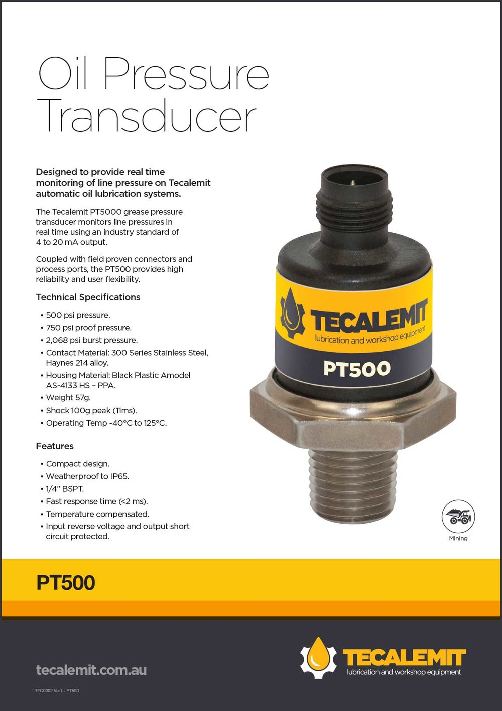 PT500 Product Info