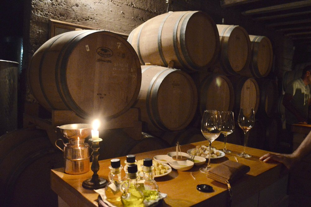 Our candlelit tasting in the Duboković cellar.