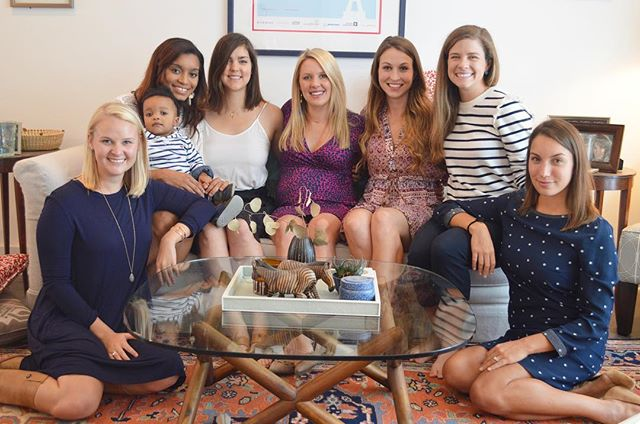 """Over the course of our friendships we've shown each other determination, kindness, vulnerability, confidence, intelligence, the occasional stupidity, and adventurousness. Each of these women have inspired me in countless ways and now, as @becca_barrett_  welcomes a baby boy, I cannot wait to witness how they impact a new generation. Baby Boy Barrett- you've got a lot of """"aunties"""" that love you.  @nat_417 @_daniallen @lizziesigler1217 @alicedereix @joycie_k"""
