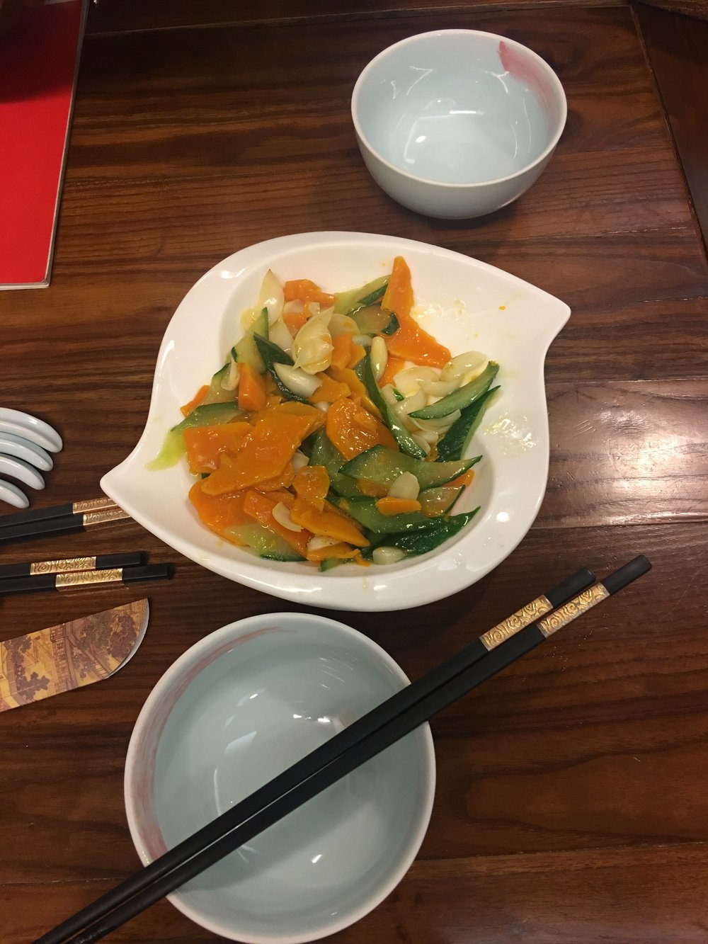 Warm cucumbers, pumpkin and flower pedals. This was at Godly in Shanghai.