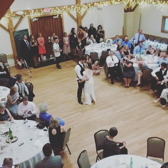 Adam and Morgan! #firstdance #dieahappyman #smittenwithsmith #weddingdjs #radiantreceptions #cobblestonefarmwedding