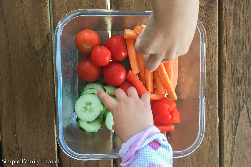 Lunchtime is where my kids help out the most, the vegetable box keeps the hunger away while they help out.