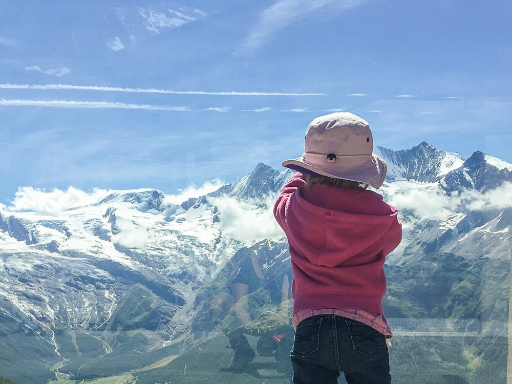 Taking in the view over the Saas Valley.