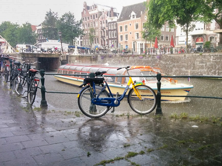 Amsterdam in the rain. Photo: Karlien
