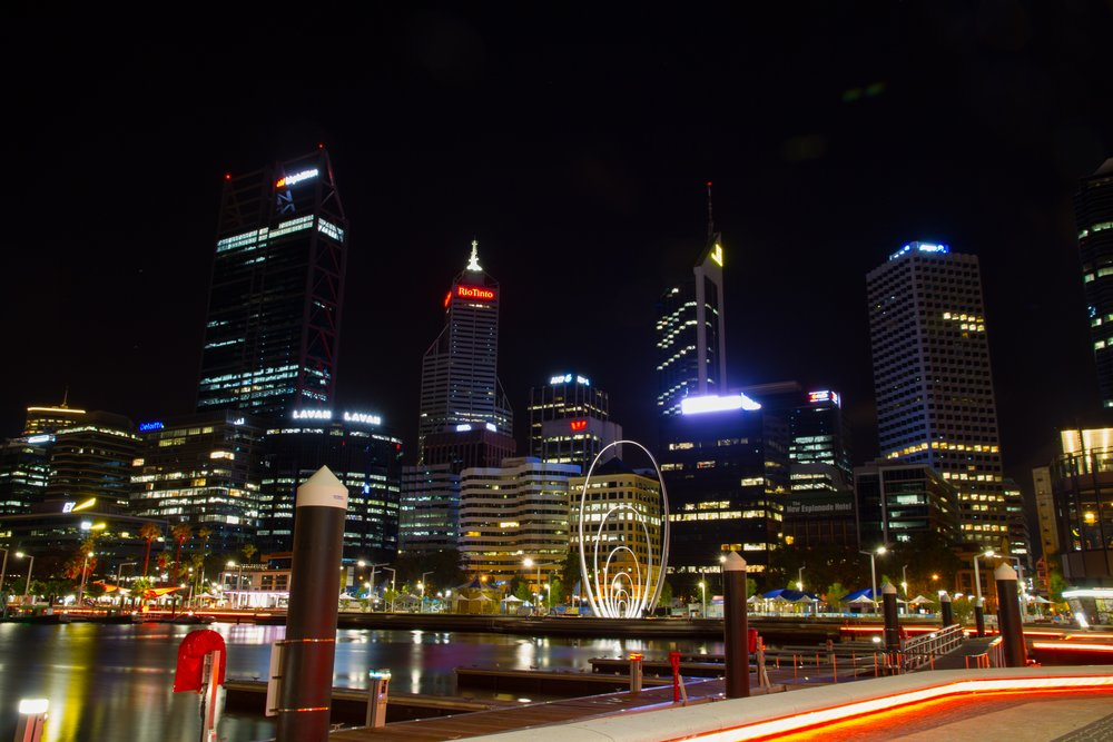 Elizabeth Quay at night. Photo Credit: Sebastian Davenport-Handley via Unsplash