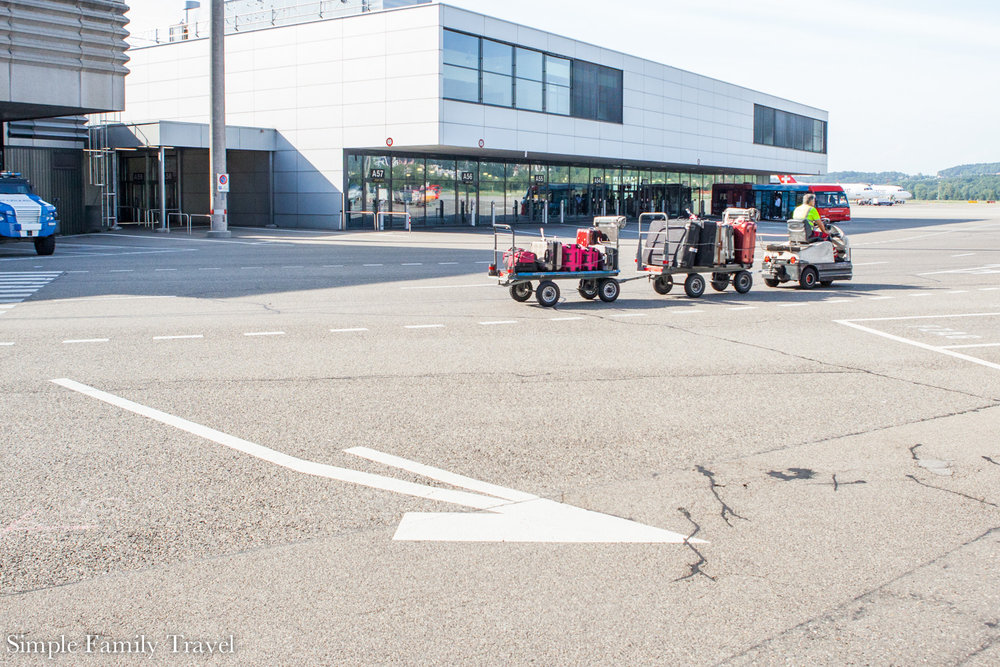 Luggage on its way to the aircraft