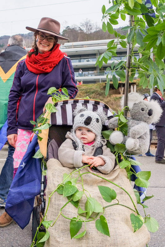 The one year I got a bit creative for our local  Fasnacht parade, but everything was found around the house bar that cute Koala hat!