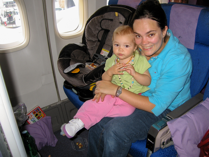 The Tween back when she was 18 months old ready for a trip Down under. We borrowed a car seat from a friend to use onboard.