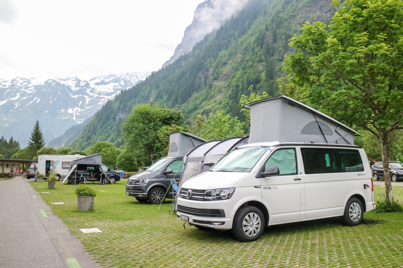 We were directed to park on the paved area along with the other vans, motorhomes and caravans.
