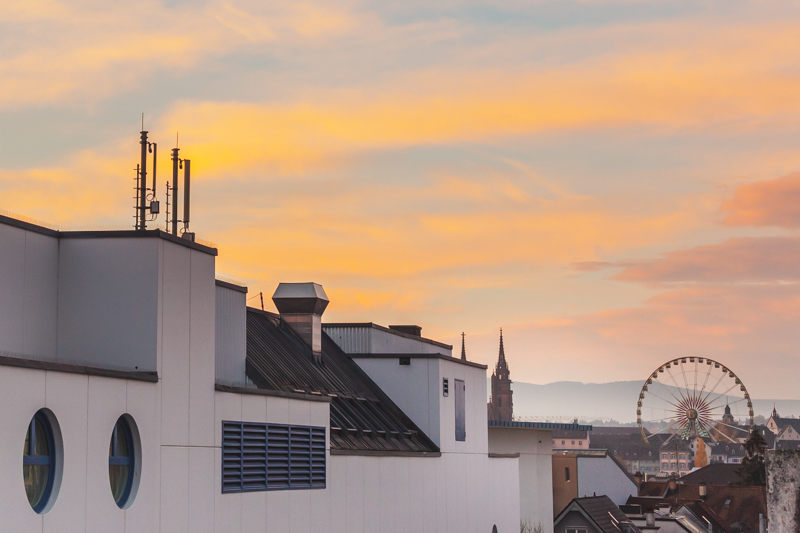 Sunrise over Basel as seen from the Swissotel, Basel.