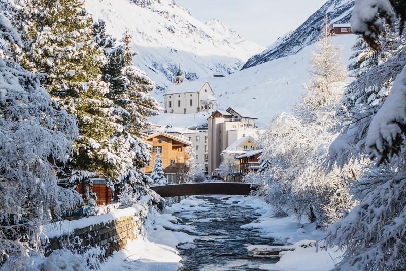 Walking through the village of Andermatt, Switzerland