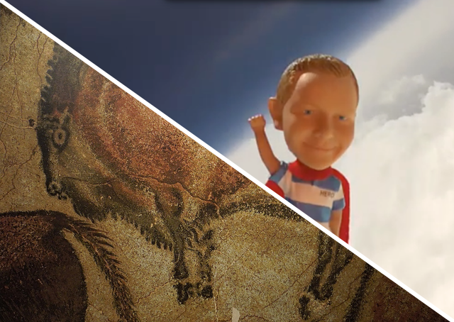 Bison from Altamira Cave & Hero in Space