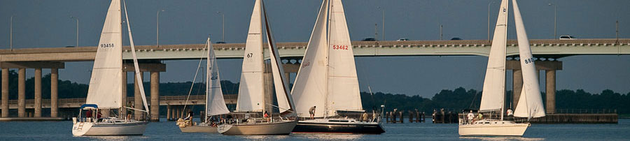 Sailboats on the Chesapeake Bay, near the Hudson Manor rental house
