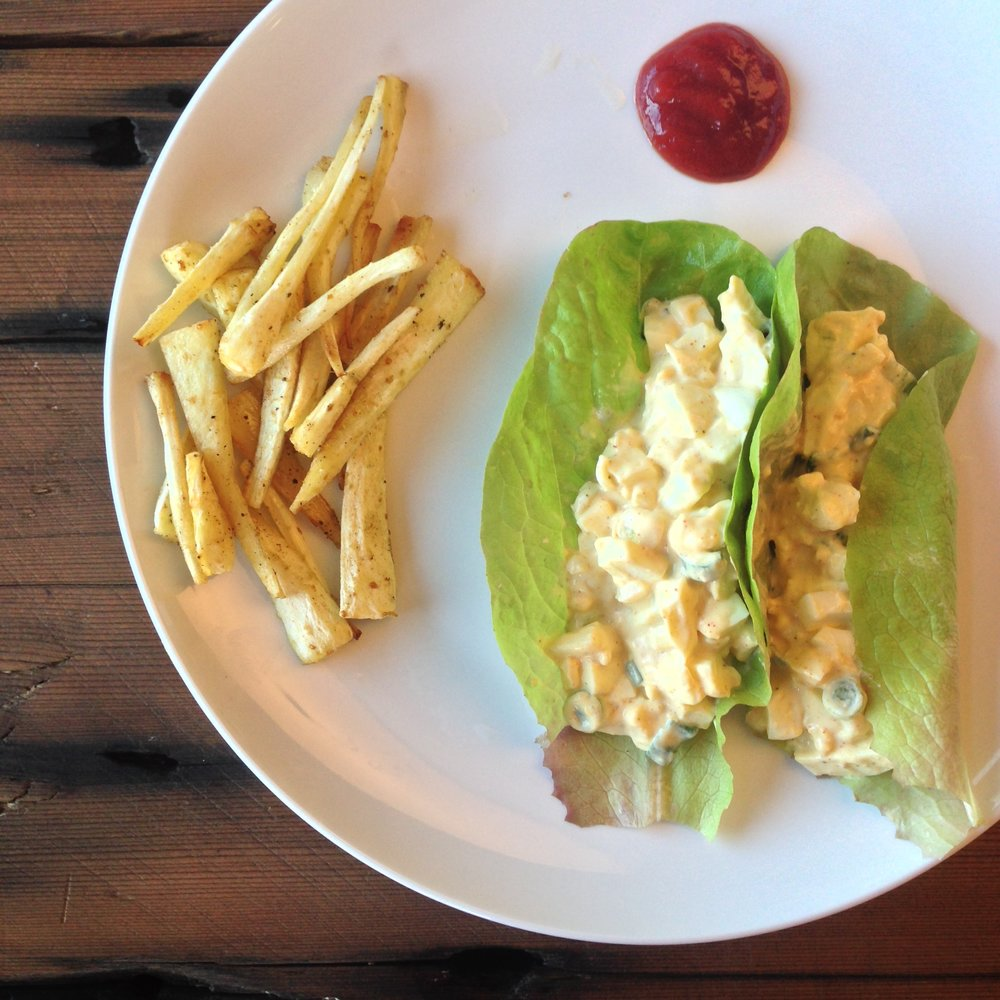 Baked parsnip fries, egg salad lettuce wraps