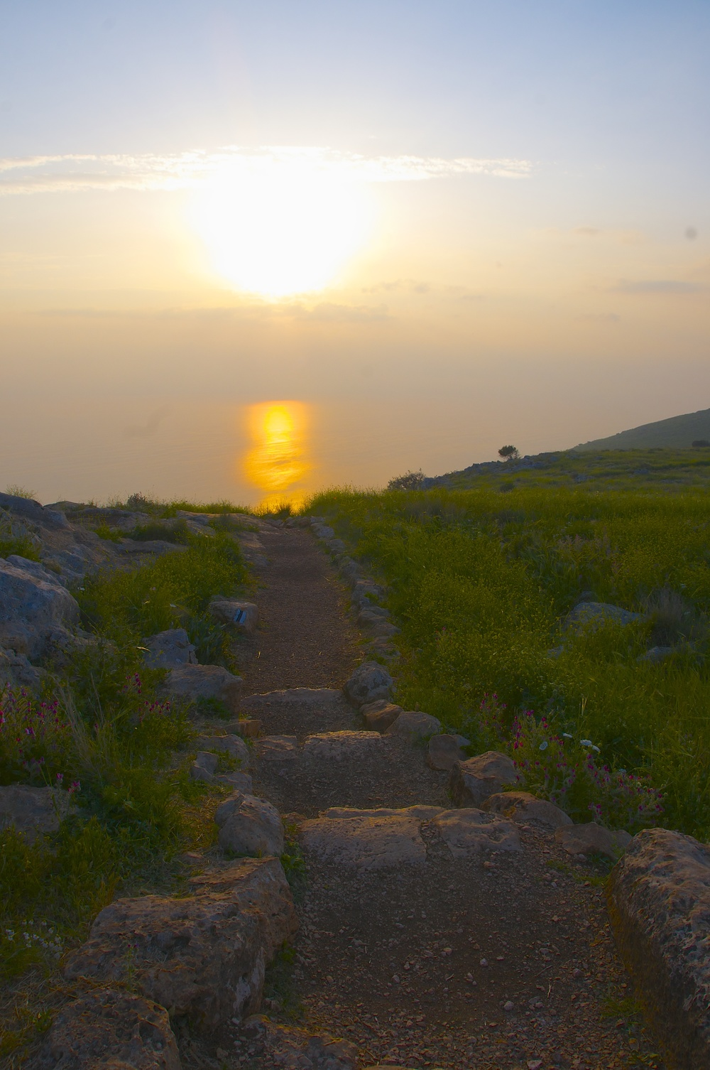 Morning Sun on the Path & the Sea of Galilee