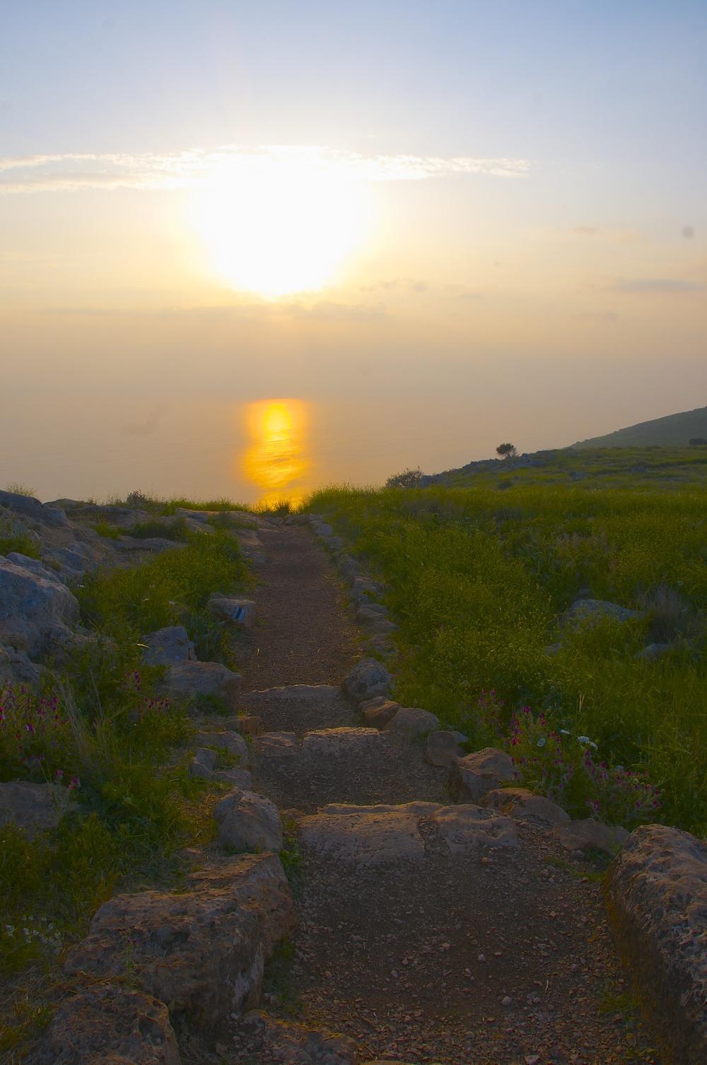 Morning Sun on the Path & the Sea of Galilee
