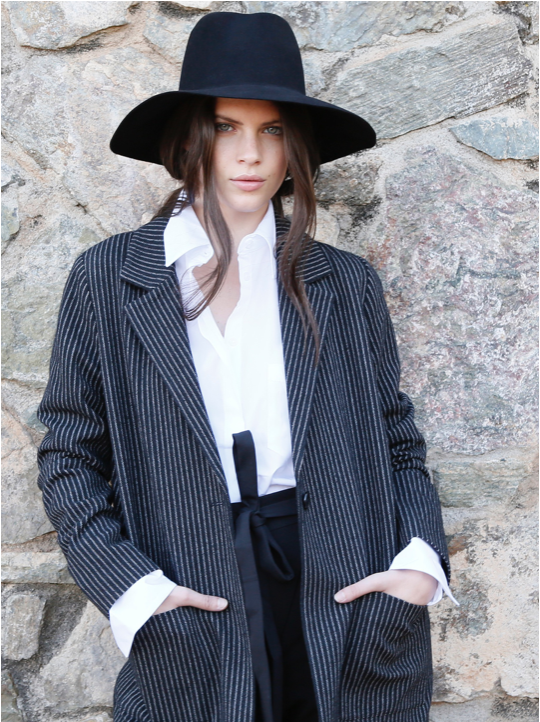 Don't let anyone unnoticed. Take a wide brim hat and create a comfy and masculine style.  Stripe Jacket from Chloé Stora, comfy Body Shirt from Alix NYC and Cross-tie waist pants from Egrey.