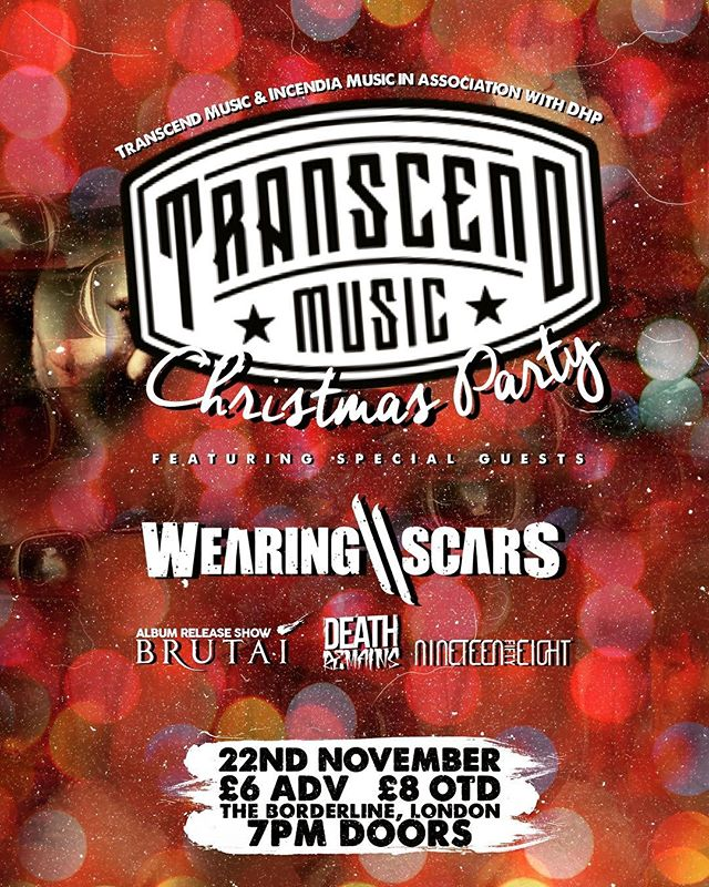 We're over the moon to announce that we're headlining the @transcendmusic Christmas Party at @theborderline on 22nd November!  We'll be playing alongside their newest signings @brutaiband (for whom it'll also be their album release show), @deathremainsofficial and @nineteenfiftyeightband!  Head to our Facebook page for the ticket link 🎄