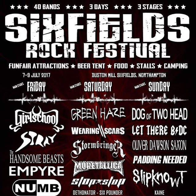 Saturday! Sixfields Rock Festival. We'll be playing an extended set including a new track from album 2 which is in the works.  #sixfields #music #live #wearingscars #andyjames #chrisclancy #craigdaws #leenewell #rock #metal #livemusic