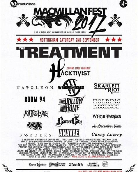 Come down tonight and see us at what will probably be our last show before we start the process of recording album 2!  Stoked to be part of this awesome line up and to watch our friends in Hacktivist straight after our set  #live #music #band #wearingscars #macmillanfest #rock #metal #nottingham