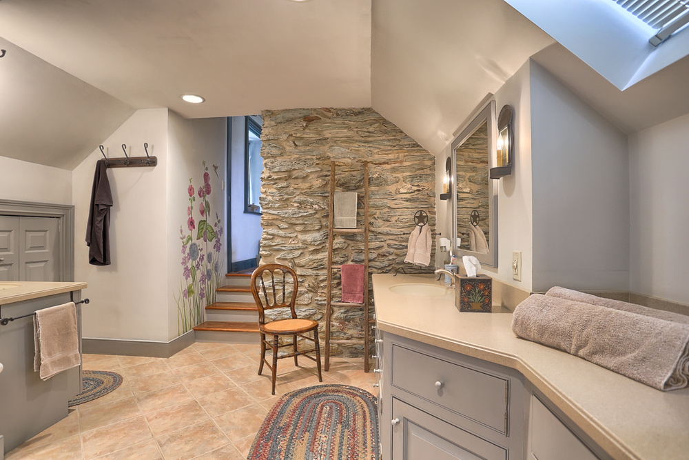 Master Bath with Exposed Stone