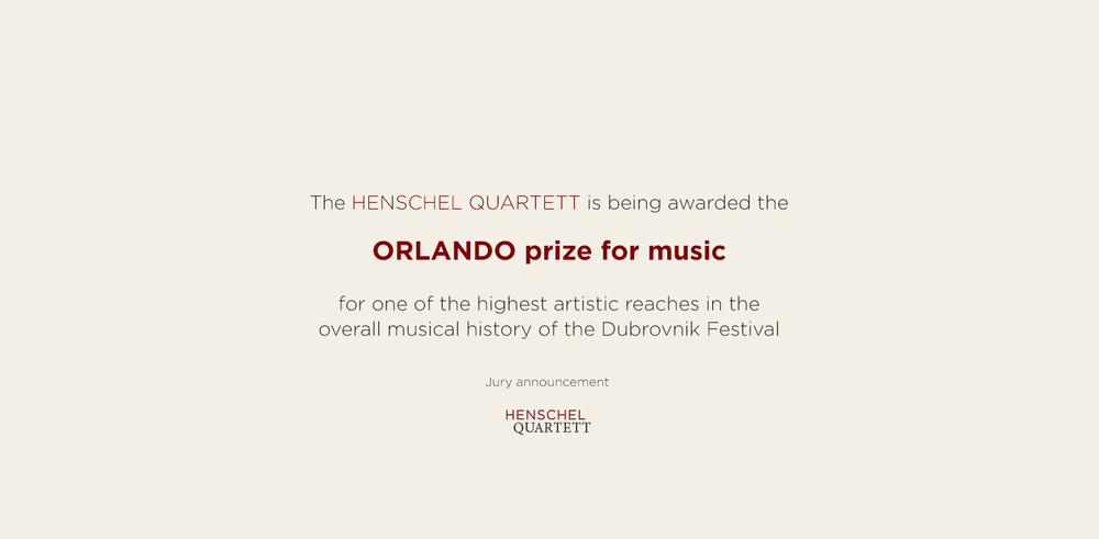 The HENSCHEL QUARTETT is being awarded the  ORLANDO prize for music