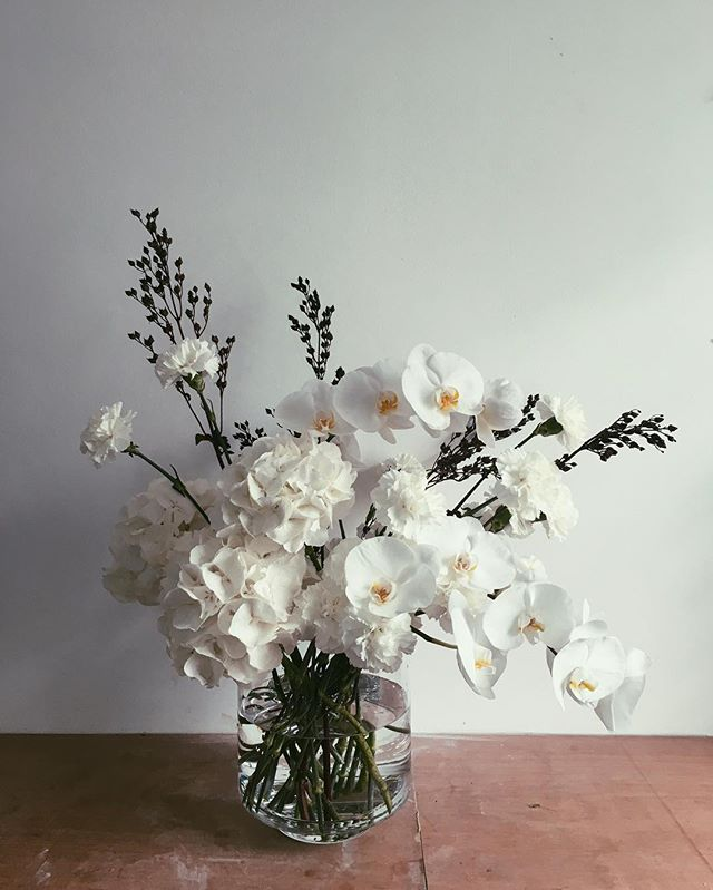 White white 🥚 #stilllifeflowers #contractflowers #orchid #hydrangea #carnation #penstemon