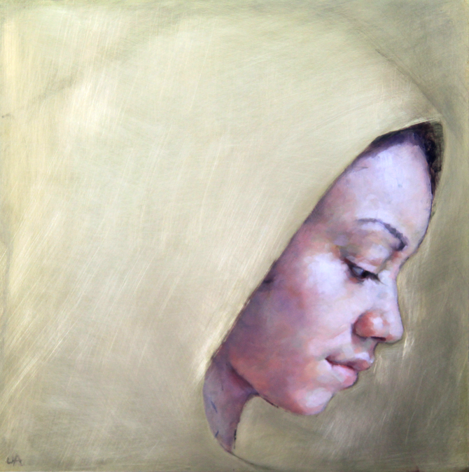 Title: Shroud Size: 30 x 30 cm Medium: Oil on brass SOLD