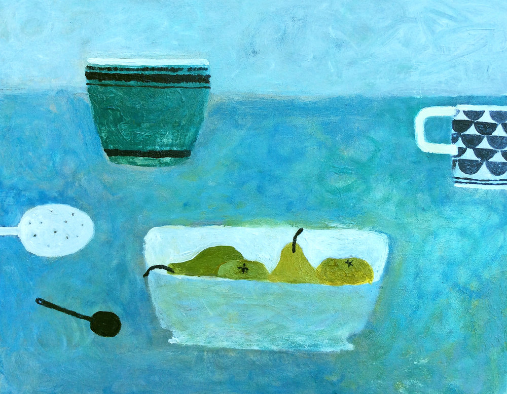 Title: Four Pears On Blue Size: 40 x 50 cm Medium: Oil on canvas