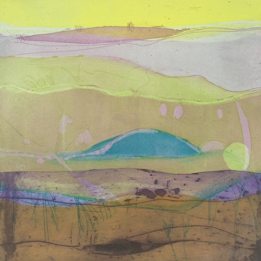 Title: Summer Dawn Size: 30 x 30 cm Medium: Etching and collagraph
