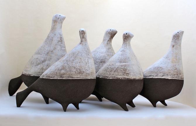 Title: A Flock of Binary Birds    Size: H 24 – 34 cm Medium: Ceramic stoneware