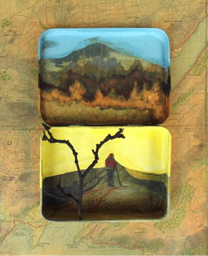 Title: Highland Explorer Size: 32 x 28 cm Medium: Acrylic, collage and vintage tin