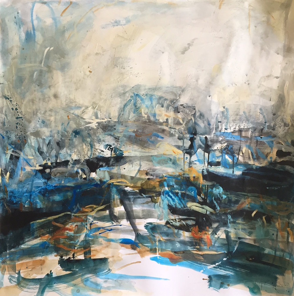 Artist: Mark Johnston  Title: Sea Air 3  Medium: Mixed media  Size: 90 x 90 cm  SOLD