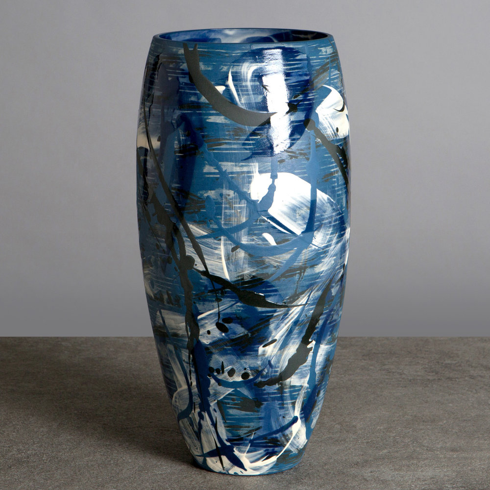 Artist: Rowena Gilbert  Title: Under The Waves  Medium: Large ceramic vase  Size: H 37 cm x Dia 17 cm  Price: £480