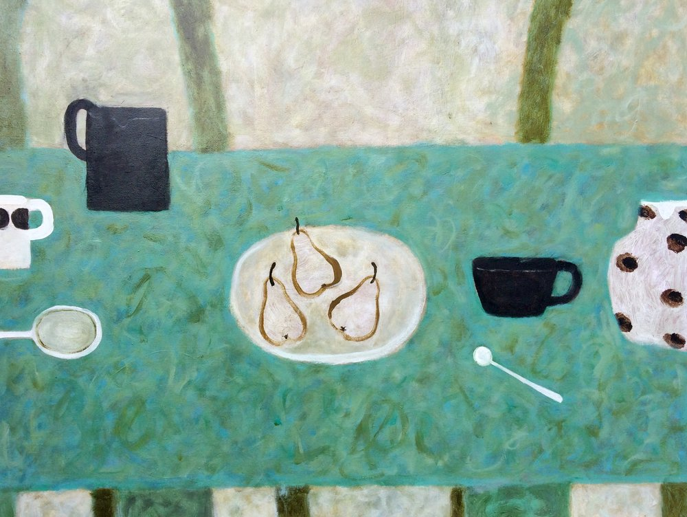 Artist: Sarah Bowman  Title: Three Pears on Green  Medium: Oil on canvas  Size: 70 x 90 cm  Price: £3200