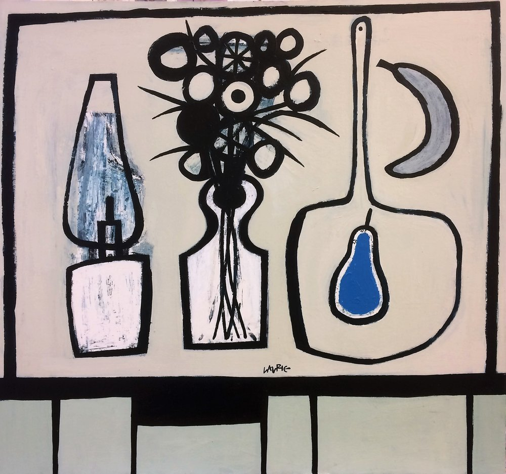 Artist: Simon Laurie  Title: Blue Pear Still Life  Medium: Acrylic on canvas  Size: 81 x 86 cm  Price; £4500