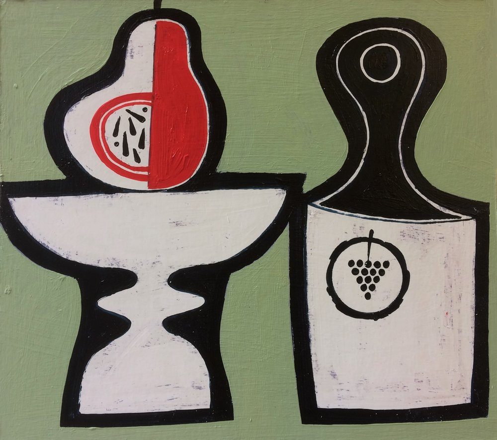 Artist: Simon Laurie  Title: Red Pear and Bottle  Medium: Acrylic on canvas  Size: 23 x 25 cm  Price: £800