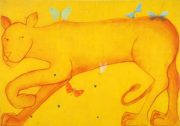 Title: Lioness Size: 71 x 99 cm Medium: Chine-collé and drypoint