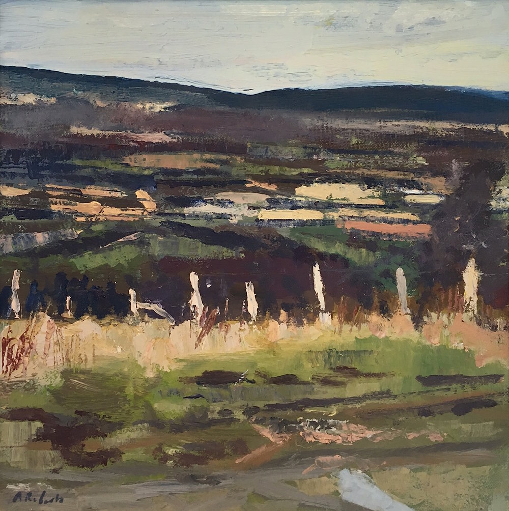 Artist: Andrew Roberts  Title: Looking Down On Firle  Medium: Oil on canvas  Size: 30 x 30 cm  Price: £1200