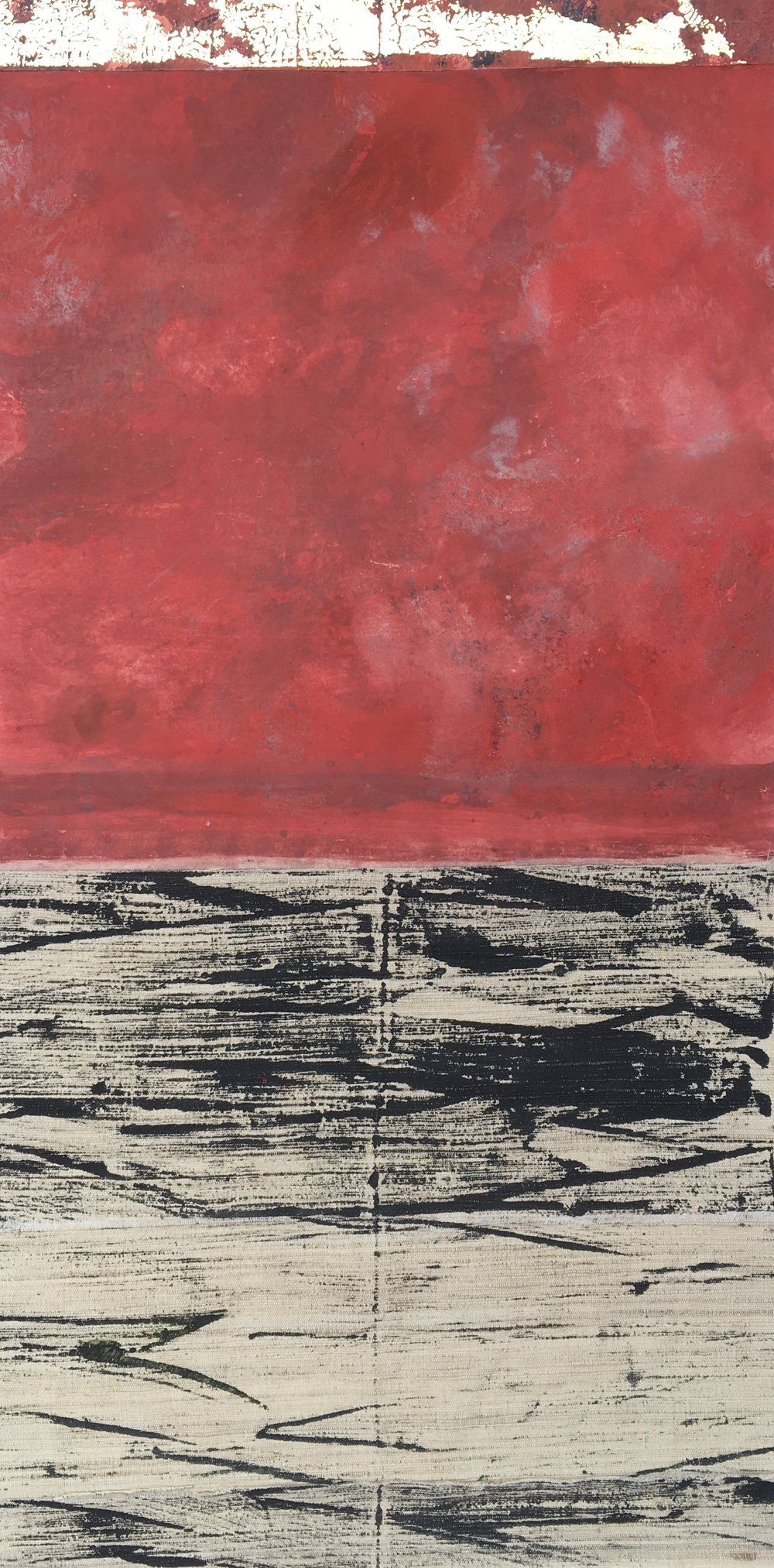 Artist: Alan McLeod  Title: Red Sky  Medium: Gouache & metal-leaf on paper & silk  Size: 55 x 27 cm  Price: £385