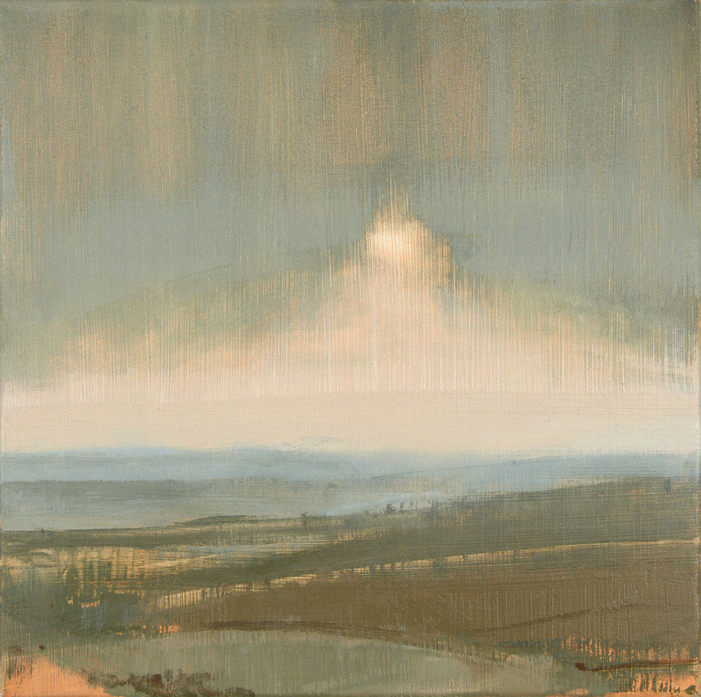 Artist: David Scott Moore  Title: Sussex Spring Sunset Cerulean III  Medium: Oil on canvas  Size: 50 x 50 cm  Price: £1400