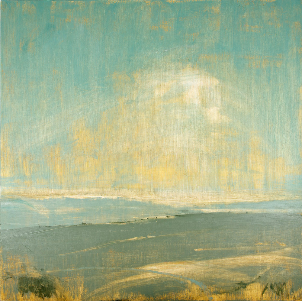 Artist: David Scott Moore  Title: Sussex Downs Sunset Turquoise II  Medium: Oil on canvas  Size: 100 x 100 cm  Price: £2600