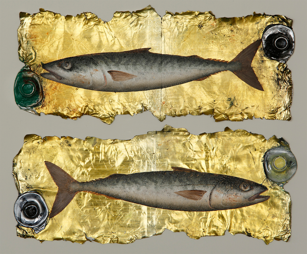 Artist: Donald Provan  Title: Double Mackerel  Medium: Oil on paint tubes  Size: 20 x 25 cm  Price: £1500