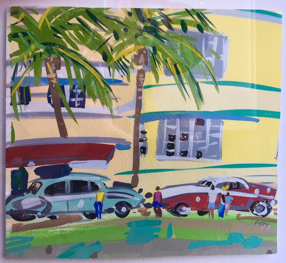 Artist: Pippa Cunningham  Title: Ocean Drive Miami  Medium: Gouache  Size: 28 x 29 cm  Price: £450
