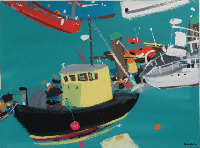 Artist: Pippa Cunningham  Title: Yellow Boat, Brighton Marina  Medium: Gouache on paper   Size: 91 x 74 cm  Price: £1650