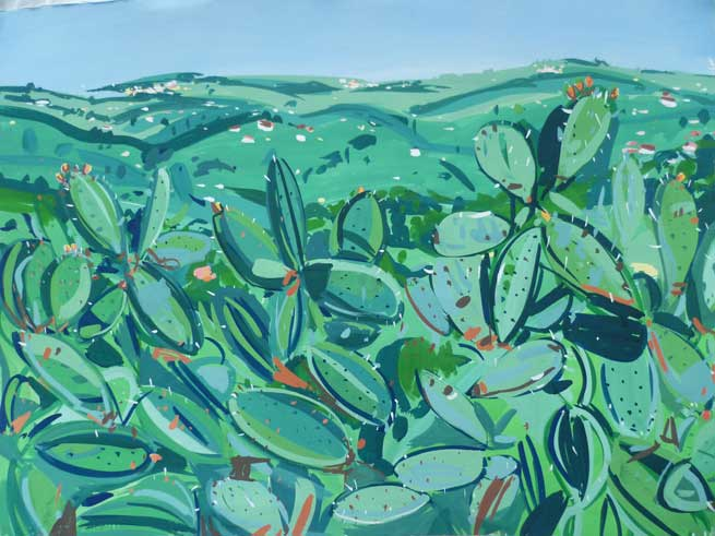 Artist: Pippa Cunningham  Title: Cactus, Tourettes Sur Loup, France  Medium: Gouache on paper  Size: 76 x 94 cm  Price: £1350