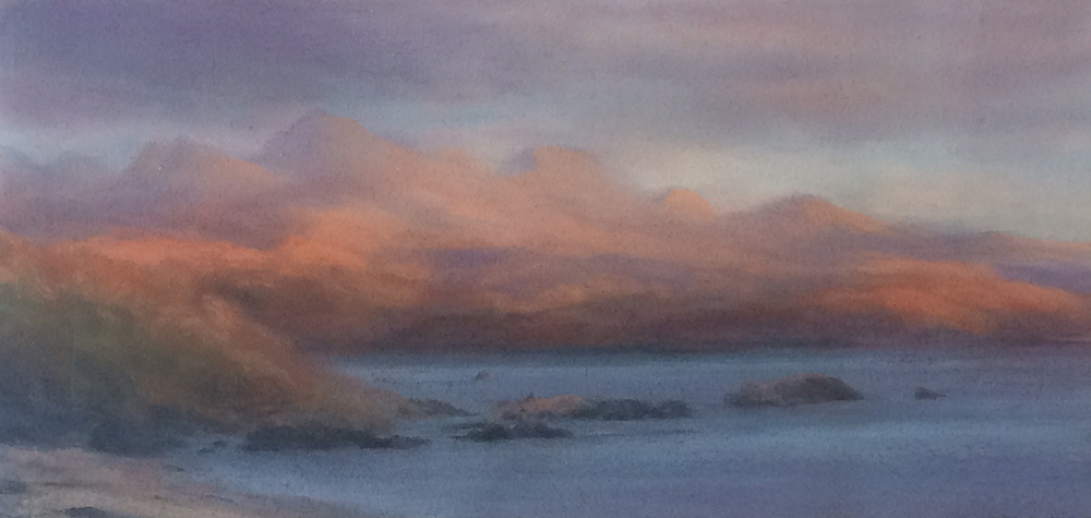 Artist: Matthew Draper  Title: Wester Ross  Medium: Pastel on paper  Size: 32 x 68 cm  Price: £1650