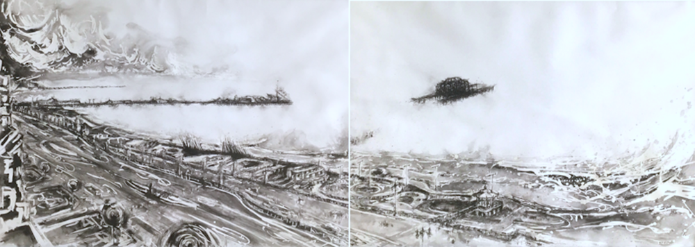 Title: Seafront Dyptich I Size: Two panels, each 99 x 138 cm Medium: Mixed media